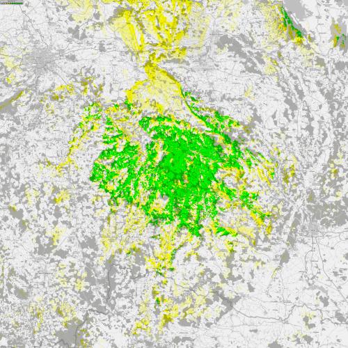 Mapa pokrytí signálem z vysílače Větrný Jeníkov – Skalky dle koordinace