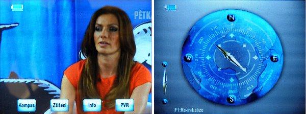 Při sledování programu se zobrazí Menu, kde můžete iniciovat zobrazení funkčního kompasu, dále Ztišení zvuku, zobrazit informace o právě sledovaném kanále a nebo iniciovat nahrávku.