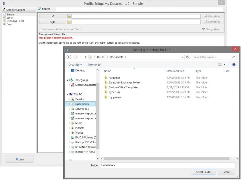V tomto kroku sdělte programu SyncBackFree, co chcete zálohovat a kam se mají soubory vytvořené při synchronizaci ukládat