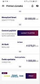 Přehled zůstatků na účtech v dalších bankách u MONETA Money Bank.