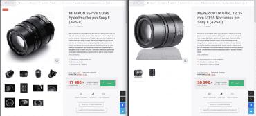 Pro srovnání: dva identické objektivy v nabídce českého e-shopu