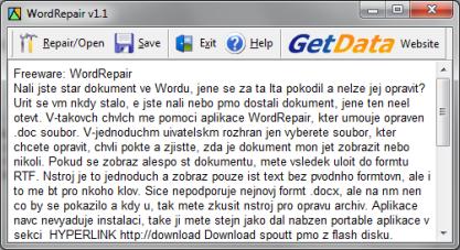 WordRepair opraví nečitelné doc dokumenty