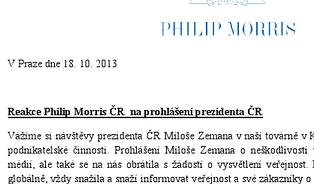 Philip Morris se (ne)ohradil proti Zemanovu tvrzení okouření. Falešnou zprávu poslalo Česko bezkouře