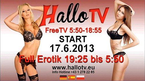 Testovací obrazovka rakouského tematického kanálu Hallo TV