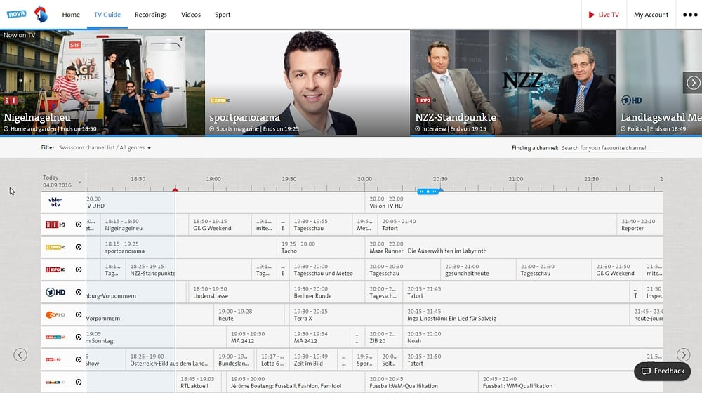Swisscom TV Air - TV Guide