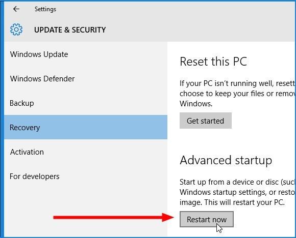 Obnovení z bitové kopie ve Windows 10