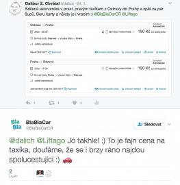 Příspěvek z Twitteru s tabuizovaným slovem taxi.