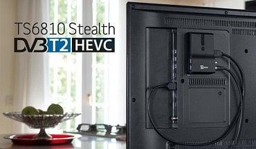 """Hodně zajímavý TeleSystem TS6810 T2 HEVC Stealth, který najdete i u značky Fuba se dá namontovat """"neviditelně"""" na zadní stěnu TV. Parametry a cena v tabulce na konci článku."""