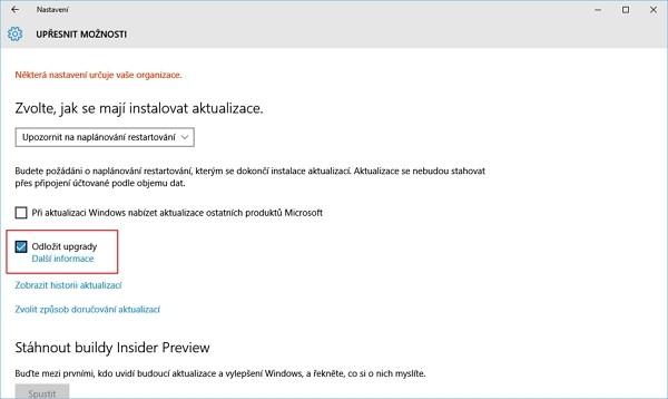 Odložení aktualizací ve Windows 10