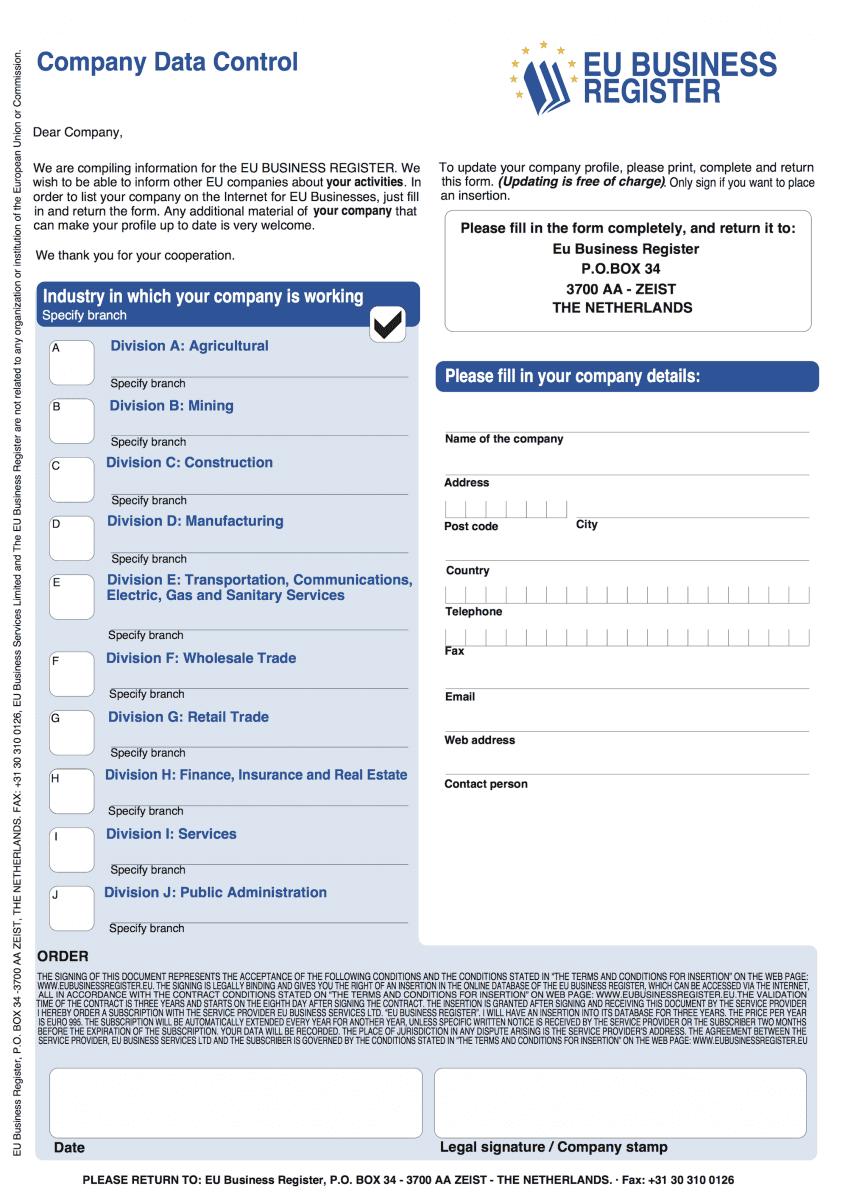 EU Europe Business Register Guide Scam