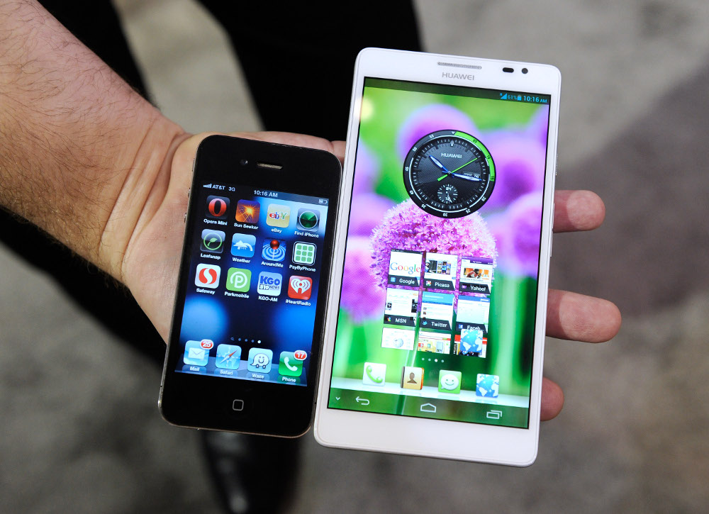 Phablet Huawei Ascend Mate a iPhone