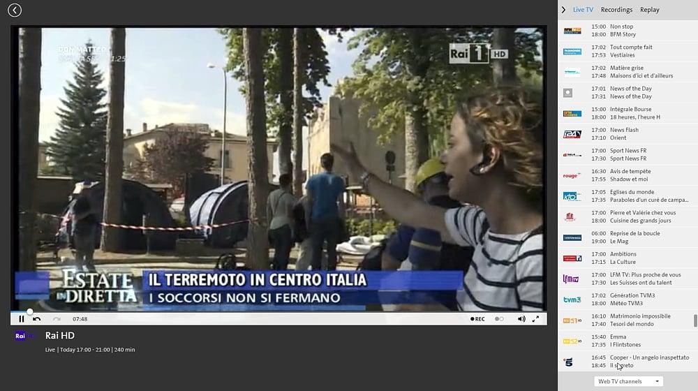 Swisscom TV Air - italské programy