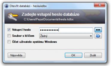 <p>Při otvírání vytvořené databáze se vás aplikace optá na heslo</p>