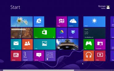 Ukázka prostředí Metro ve Windows 8