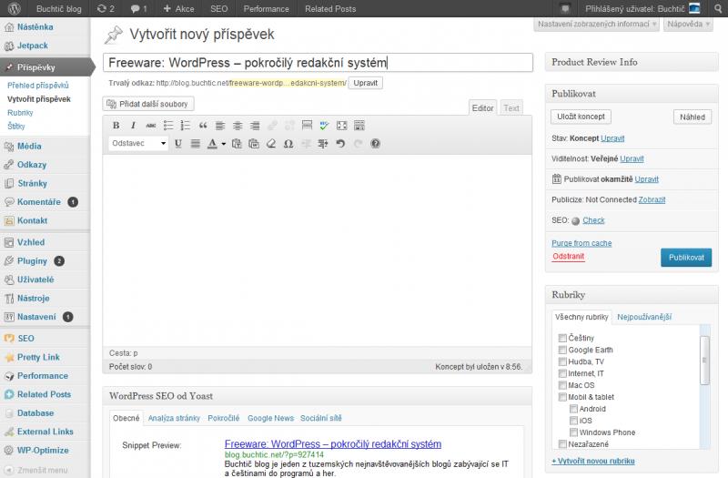 Administrační rozhraní systému Wordpress na webu blog.buchtic.net