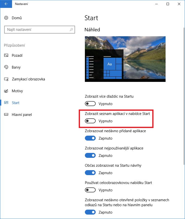 Aplikace Nastavení ve Windows 10 Creators Update