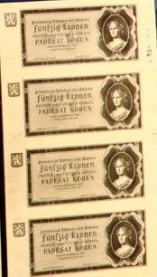 Protektorátní bankovka 50 Kč s využitím portrétu Republiky.