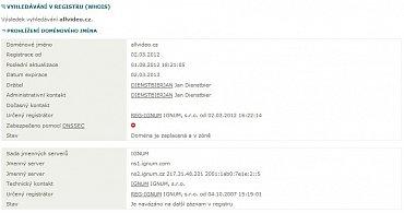 Výpis z registru (WHOIS) k 1.8.2012.