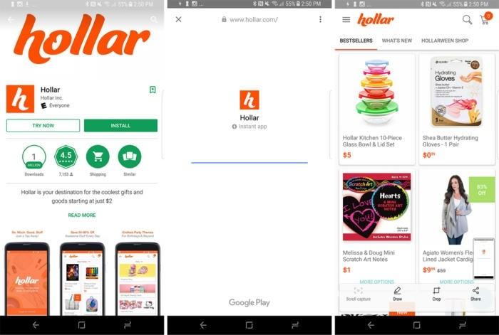 Aplikace Holar patří mezi ty Instant Apps, které jsou v Google Play Store k dispozici pro vyzkoušení.