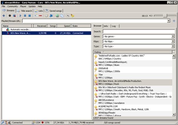 streamWriter dokáže nahrávat internetová rádia