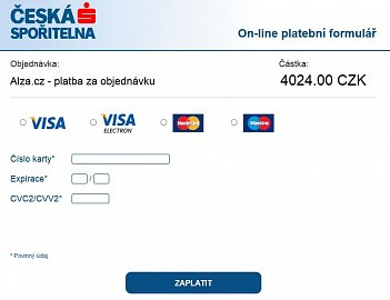 Ukázka dema platby kartou prostřednictvím přímé smlouvy s bankou.