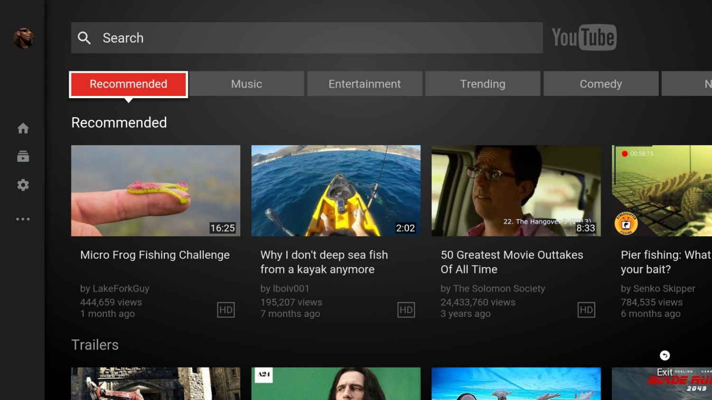 Nvidia Shield TV - aktualizace YouTube