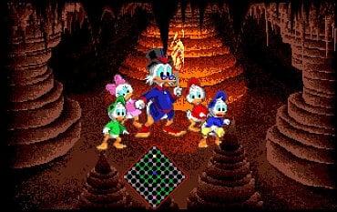 DuckTales - The Quest for Gold - Amiga. Zde je nejenom vidět lepší barevné vykreslení (ST vůbec v jeskyni nereflektuje světlo pochodně), ale hlavně plynulost hry na Amize je mnohem lepší. Lagy (hodně znepříjemňující ovládání) a dlouhé nahrávací časy na ST jsou pouze pro otrlé.