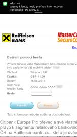 Ověření platby 3D Secure. Všimněte si, kdo vyžaduje platbu – Wirecard.