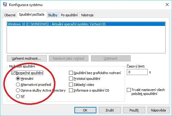 Nástroj Konfigurace systému a možnosti spuštění operačního systému Windows