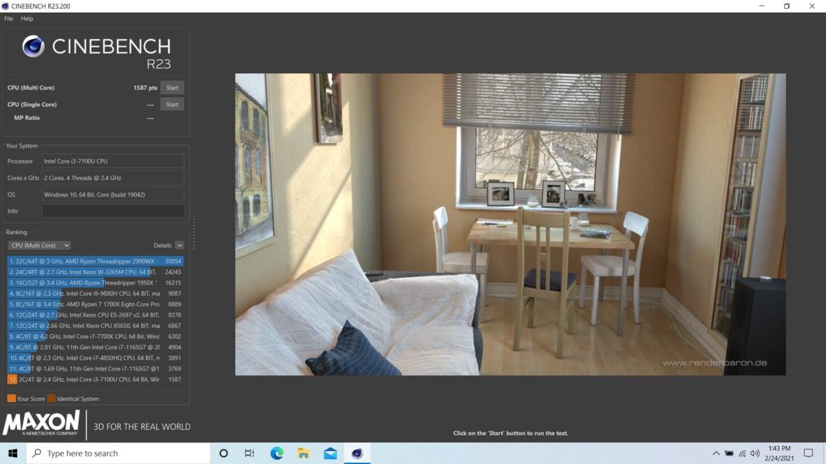 Cinebench R23 pro operační systém Windows po testování CPU Intel Core i3-7100U