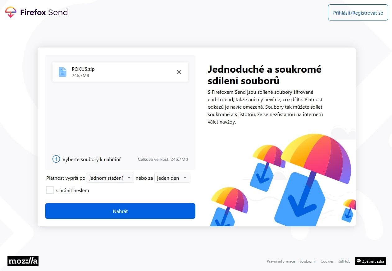 Firefox Send, nová služba Mozilly na posílání souborů
