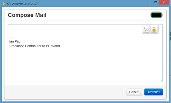 Okno programu Mailvelope pro psaní e-mailu