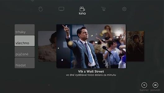 Uživatelské prostředí Kuki TV – hlavní menu