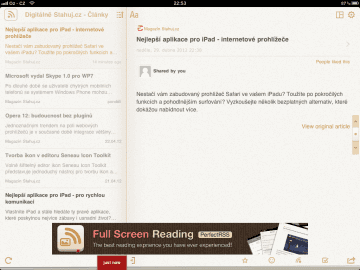 Perfect RSS Reader přináší hlavně podporu gest pro snadnější ovládání