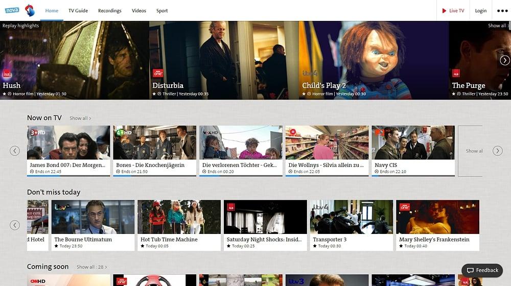 Swisscom TV Air - sekce menu