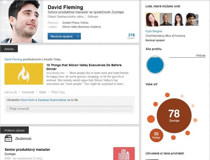 Profil v síti LinkedIn