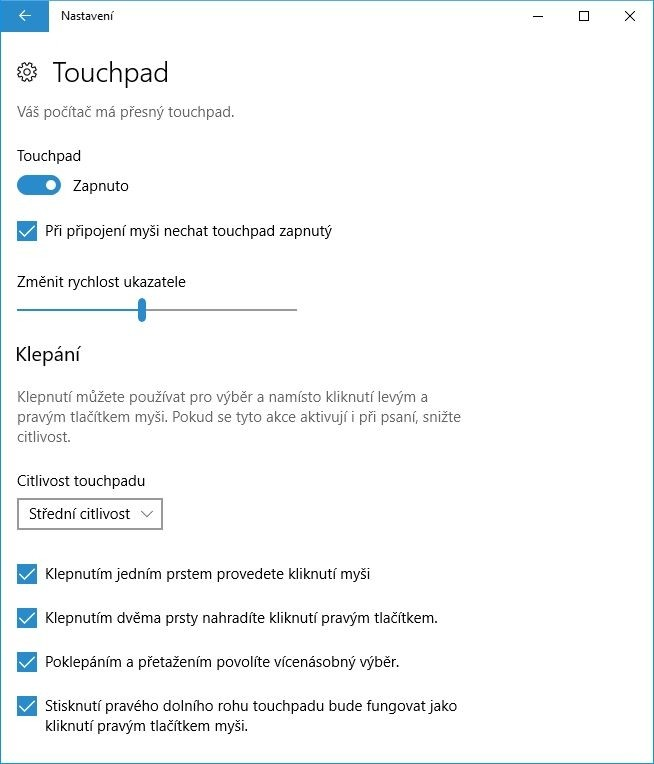 Zkontrolujte si na svém notebooku nastavení touchpadu, abyste se ujistili, že je touchpad povolen. Také nezapomeňte prověřit i další možnosti konfigurace (když už jste tady)