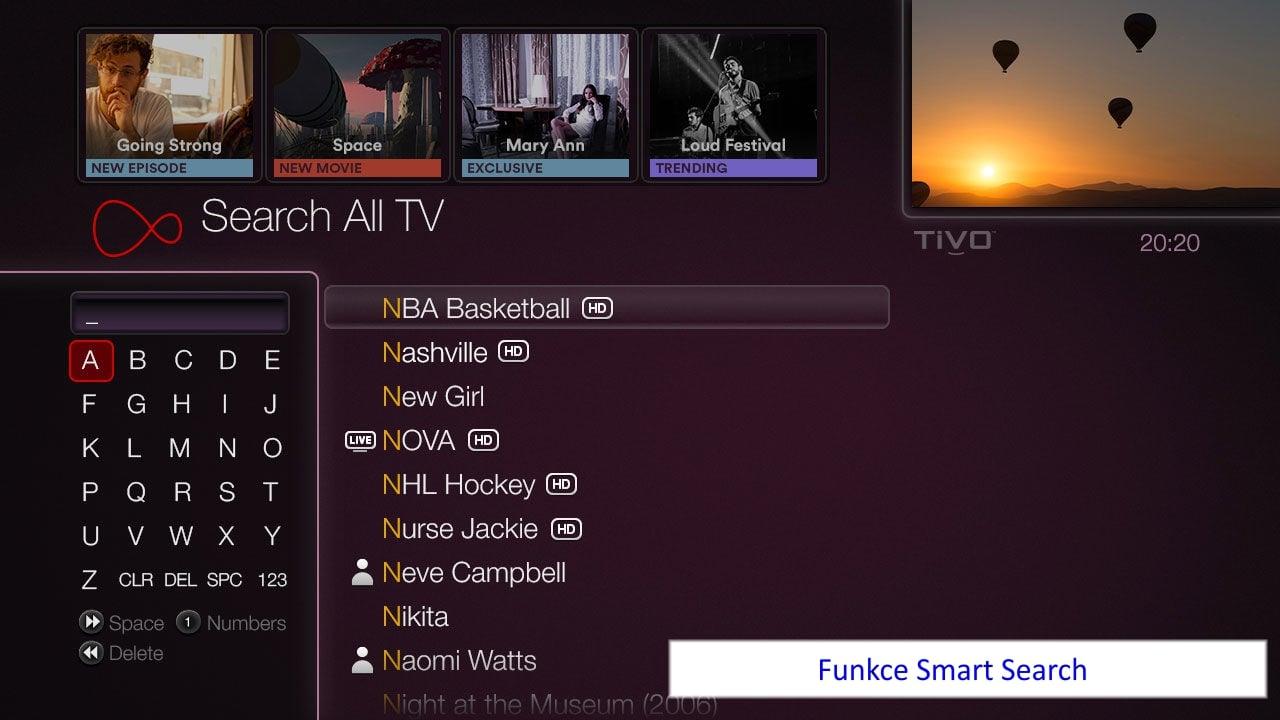 Ukázky GUI Virgin TV