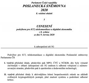 Usnesení sněmovního podvýboru pro ICT, telekomunikace a digitální ekonomiku