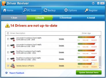 Bezplatná verze aplikace Driver Reviver dokáže pouze zjistit, které ovladače jsou zastaralé