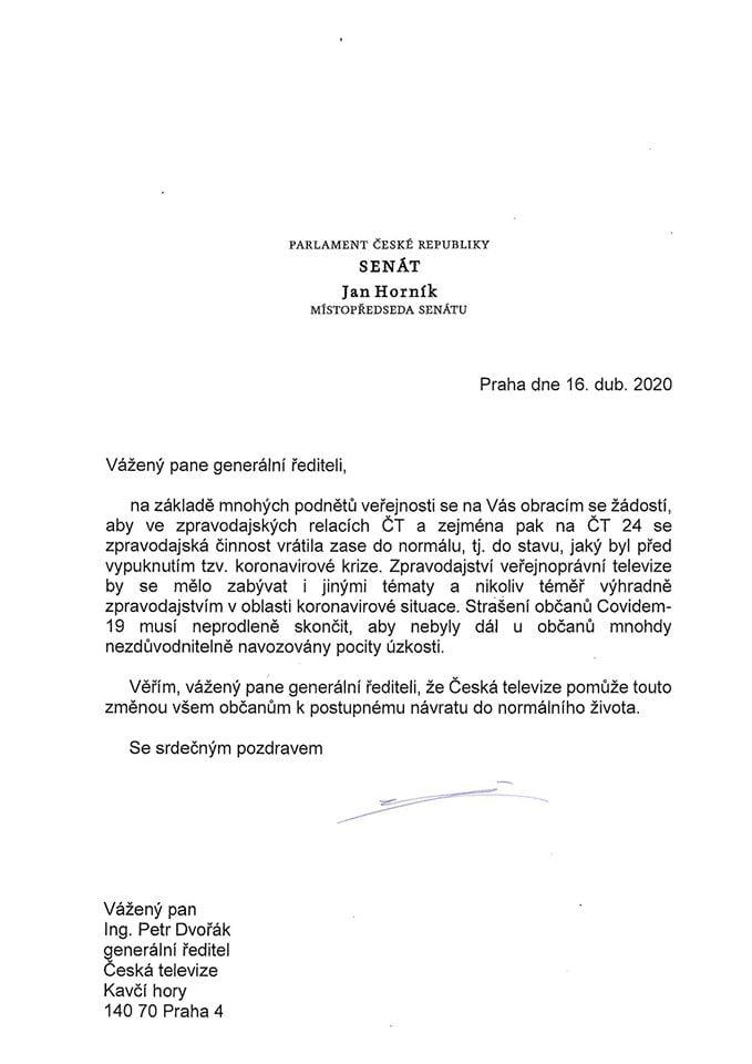 Dopis senátora Jana Horníka řediteli ČT a odpověď Petra Dvořáka