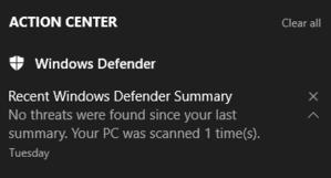 Ukázka rozšířeného oznámení Windows Defenderu