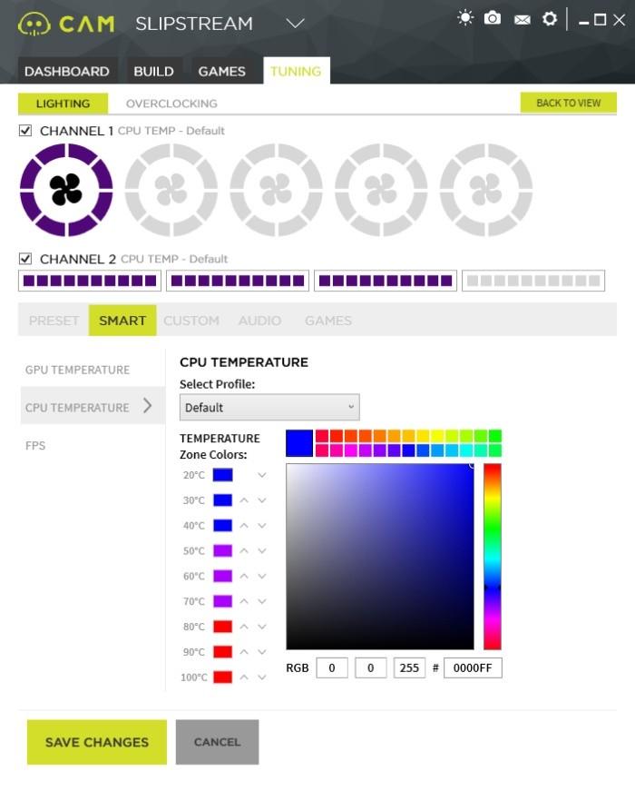 LED osvětlení je možné použít i pro upozorňování na různé systémové události, jako je například příliš vysoká teplota procesoru
