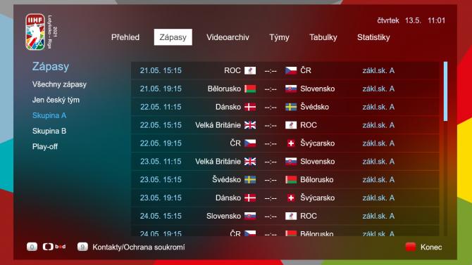 [aktualita] Hokejové mistrovství světa opět doplní HbbTV aplikace České televize