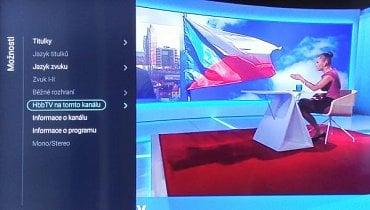 Kontextové menu, které se objeví na aktuálním kanálu dovoluje i vypnutí HbbTV.
