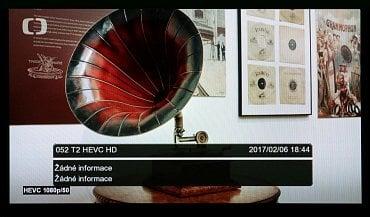Přijímač s firmwarem verze Ariva T265 04012017 už bez potíží zvládal i příjem vysílání v DVB-T2/HEVC.