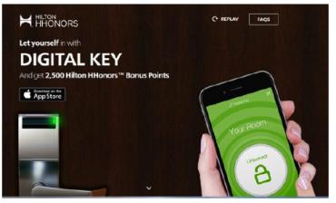 Digitální klíč v rámci aplikace Hilton Hhonors.