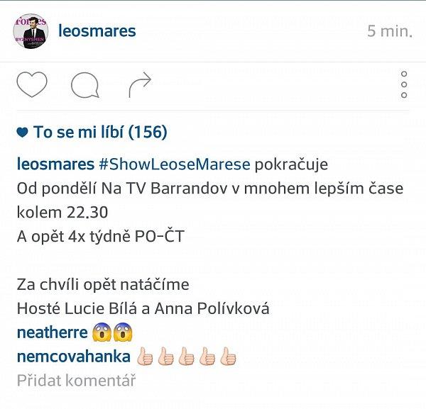 Nasazení své noční show na TV Barrandov oznámil moderátor Leoš Mareš na Instagramu