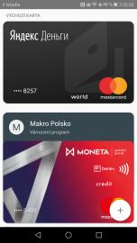 Platební karty Yandex Money v aplikaci Android Pay. (14. 11. 2017)