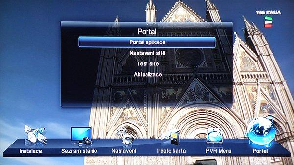 Hlavní Menu přijímače PORTAL, Nastavení sítě, test sítě a aktualizace